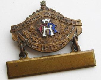 Vintage 1915 GAR Brass Enamel 49th Encampment Civil War Veterans Military Badge Pin