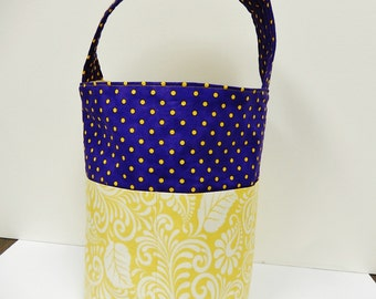 Craft Storage Bag with Handle, Craft Organizer, Purple, Yellow, Three Pocket Organizer
