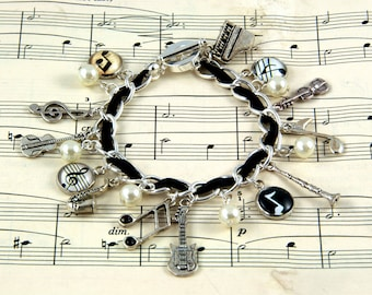 Music Charm Bracelet - Gift for Musician - Music Jewellery - Silver Plated
