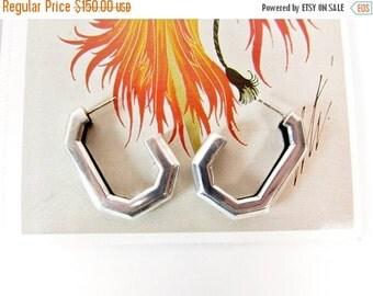 ON SALE Vintage Designer Charles Krypell Earrings - Sterling Silver & 14k Charles Krypell Hoop Earrings - Charles Krypell Hoops