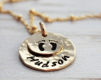 custom hand stamped name baby footprint necklace | new mom push present | infant loss memorial | baby announcement maternity necklace | gold