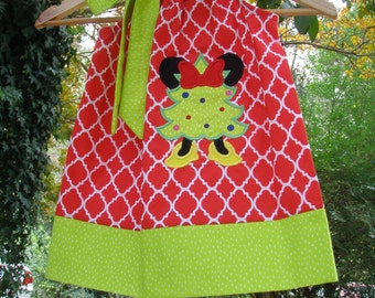 Christmas Dress Minnie Mouse dress dress red green appliqued Disney Clothing 3,6,9,12,18 month2t,3t,4t,5t,6,7,8,10,12