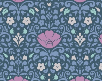 Midnight  Floral Damask Ethereal Camelot Quilt Fabric by the 1/2 yard