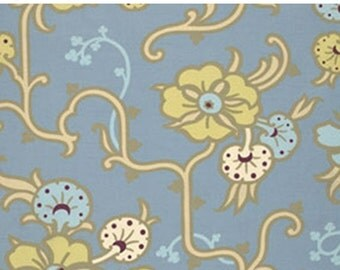 ON SALE Gypsy Caravan Vines Floral Blue Amy Butler Floral  Quilt Fabric by the 1/2 yard #89s