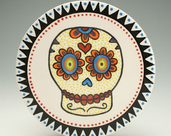 Day of the Dead Hot Plate, Trivet, Sugar Skull Ceramic Cheese Board, Serving Plate, Pot Holder, Halloween Decor