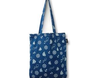 Nautical Denim Tote Bag. Retro Shopper. Rockabilly Bag. Sailor Jerry Inspired Bag