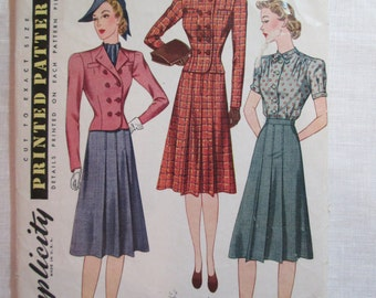 "Antique 1939 Simplicity Pattern #3273 - size 36"" Bust"