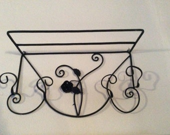 French Country Antique Architectural Ironwork, Hat Coat Rack Shelf, Roses, Flowers