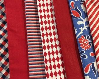 Vintage Fabric Lot of 15 Red White Blue Polka Dot Stripes Plaid Geometric