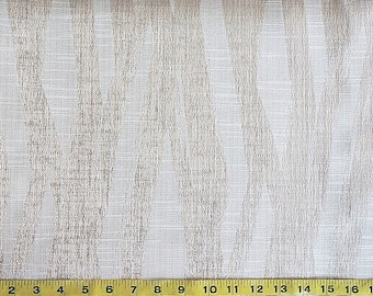 Custom Curtains Valance Roman Shade Shower Curtains in Ivory / Gold Abstract Stripe Pattern Fabric