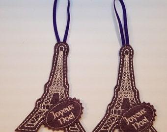 Two Wool Felt Eiffel Tower Joyeux Noel Ornaments