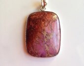 Shop Sale!  Pink Purple and Sterling Sea Sediment Jasper Pendant