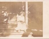 Girl on the Porch - Vintage Photograph, Ephemera, Vernacular, Found Photo (A)