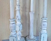 Handmade Triple Painted Farmhouse Vintage Redesign Spindles Table Leg Set of Candle Holders Christmas Reimagined Home Decor