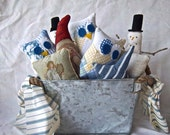 Handmade Redesigned Reimagined Tub Full of Primitive Christmas Home Decor Guest Gifts Rustic Christmas Decoratios