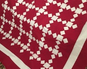 Quilt Red and White Tumbling Blocks and Diamonds Quilt Queen Ready to Ship
