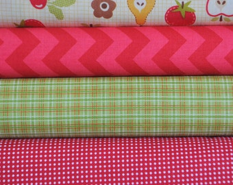 Farm Fresh Cream Rootcellar 4 Fat Quarters Bundle by October Afternoon for Riley Blake, 1 yard total