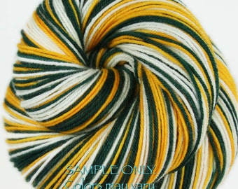 """DYED to ORDER: """"PACKERS"""" - Self-striping Sock Yarn"""