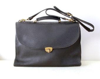 Vintage Jack Georges Black Color Leather Briefcase with Original Shoulder Strap, Made in USA , Item No