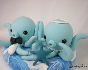 Wedding Cake Topper--Red/Pink Octopus Love with Ocean Base--Customized for Summer Wedding
