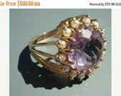 SALE Amethyst and Pearl Ring 14 KT Yellow Gold Size 7 Open Gold Mounting Stunning Custom Made