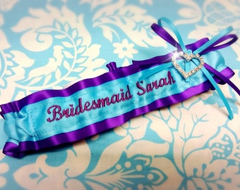 Aqua Blue and Purple Bridesmaid garter,  name, Name garter, Mrs Garter, Turquoise and purple garter set, turquoise garter, heart