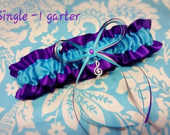 Aqua and purple Wedding Garter SINGLE or SET, beautiful Personalized purple and turquoise blue satin  with treble clef, silver and purple