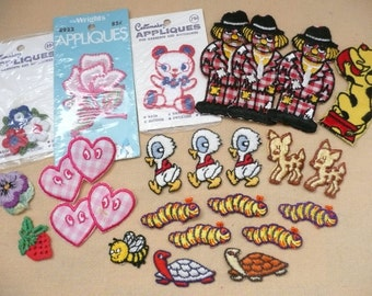 Lot of 24 Sew On and Iron On Appliques - Flowers, Animals, Disney