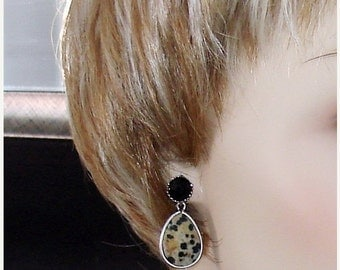 READY FOR SPRING Sale: Ashira Simple Casual Unique Spotted Jasper Teardrop Dangle, Drop Earrings