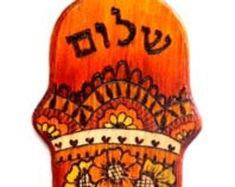 Shalom / Peace Wood Hamsa , Decorated  Hamsa Henna design