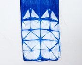 ON SALE Itajime Shibori Indigo Silk Scarf - Windowpane