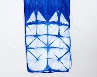 ON SALE Itajime Shibori Indigo Silk Scarf - Windowpane