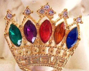 50% Gold Rhinestone Faux Gemstone Heavenly Crown Jesus Brooch