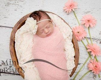 Ivory flower headband, infant headband, ivory newborn headband, rose heaband, baptism headband, christening headband, ivory baby headband