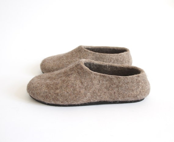 Mens Wool Slippers, Brown Eco Friendly, Felt Slipper, House Shoes, Rubber Soles, Felt Boots, Minimalist Shoes, Men Slipper House Shoes