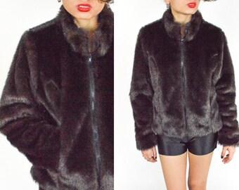 90's BLACK FAUX FUR  Coat. Cropped Cut. Long Sleeves. Mod Grunge Goth Rave . Fur Coat