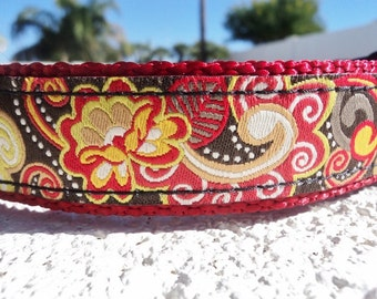 """Sale Dog Collar 1"""" Quick Release buckle Ruby - upgrade to martingale style"""
