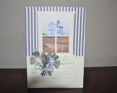 Vaction Retreat at the Shore  Country Window Blank Greeting Card