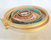 Lot of 9 Wood and Plastic and Metal Embroidery Hoops Including 2 Large 14 inch Quilting Embroidery Hoops