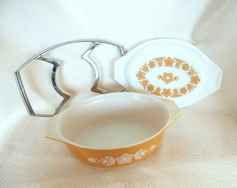 Vintage Pyrex 043 Butterfly Gold Oval Covered Casserole and Cradle Trivet 1.5 Quart Gold Butterflies on White Milk Glass