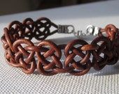 Leather Knotted Bracelet Celtic Inspired Womens Casual Jewelry Gift Brown or Black