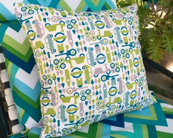 "Pillow Cover ""Things That Go"" in Greens and Blues"