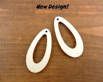 "Wood Earring Teardrop Shapes 2"" H x 1"" W x 1/8"" Laser Cut Wood Jewelry Making Shapes - 12 Pieces"
