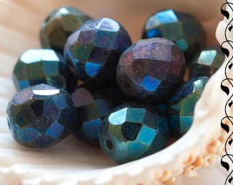 Fire Polished Round Beads 8 mm Multicolored 10 pcs