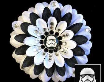 First Order Stormtrooper Star Wars The Force Awakens White and Black Penny Blossom Rhinestone Flower Barrette