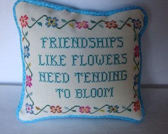 Friendship pillow, small pillow, statement of friendship, decorative pillow, shelf sitter, gift for a friend, home decor