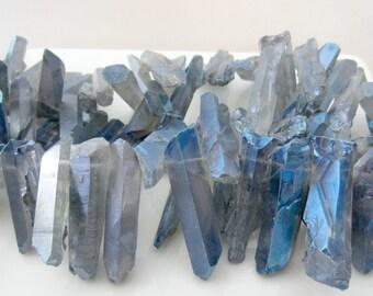 Blue Quartz Spike, Crystal Points, Raw Quartz Crystal, Quartz Points, Titanium Quartz Bead, Quartz Sticks, Dagger Beads, Aura Quartz 17-38mm