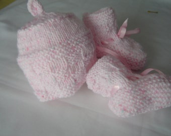 Pink baby hat and booties