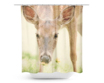 Deer Shower Curtain Rural Photo Deer Photography Rustic Home Decor Wildlife Photograph