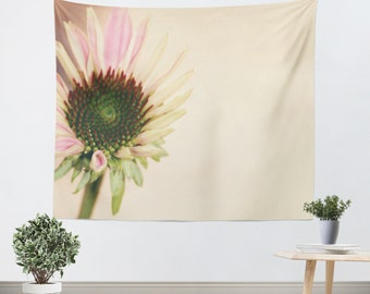 Floral Wall Tapestry - Flower Wall Hanging - Pink and Yellow - Nature Tapestry - Flower photography - home decor - Cottage Chic